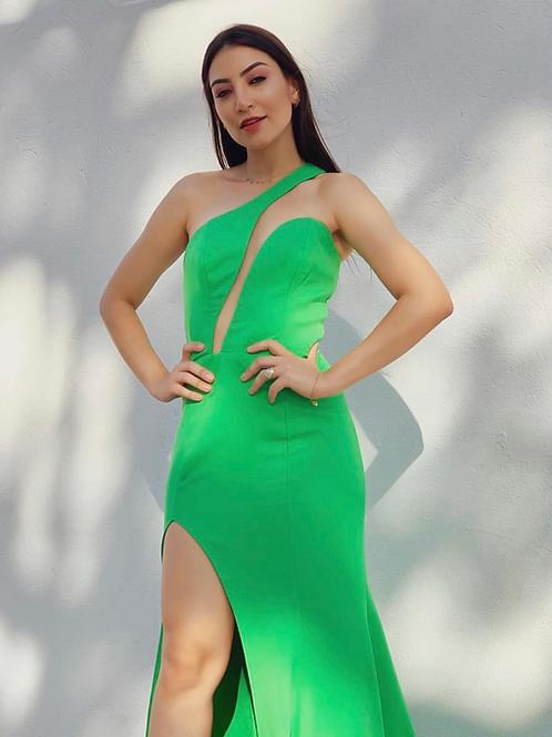 Vestido longo decote diagonal verde Skazi