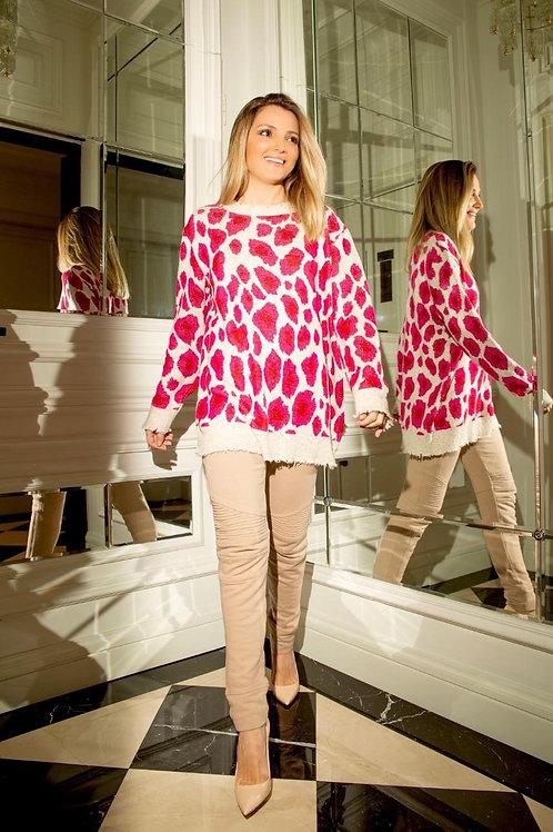 Blusa em tricot onça pink Tig rosa e off white