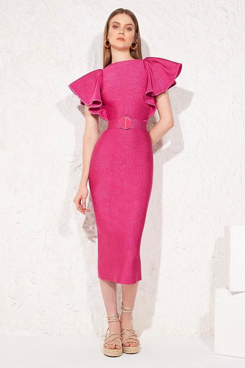 Vestido midi detalhe babados rosa bandagem Skazi