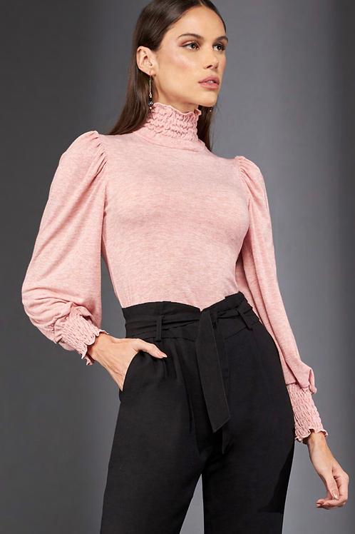 Blusa manga longa lastex rosa claro Skazi Sclub