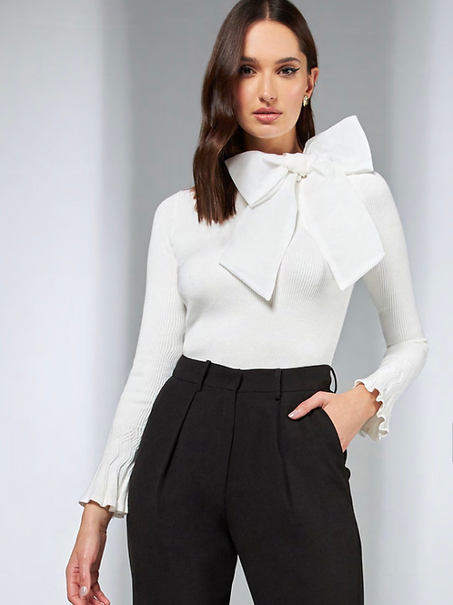 Blusa tricot detalhe laço off white Skazi Sclub