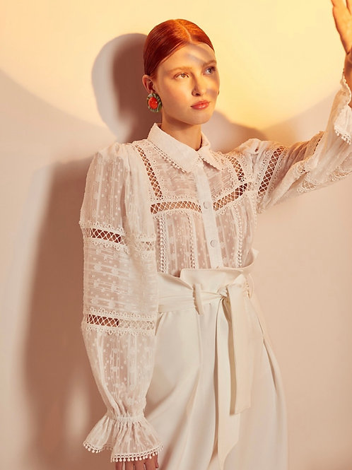 Camisa renda off white Skazi