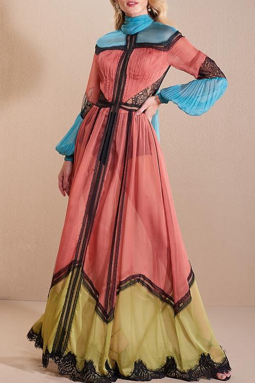 Vestido longo gola faixa tricolor entremeios rendas Skazi
