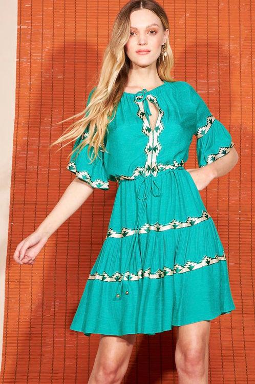 Vestido curto detalhes verde Skazi Sclub