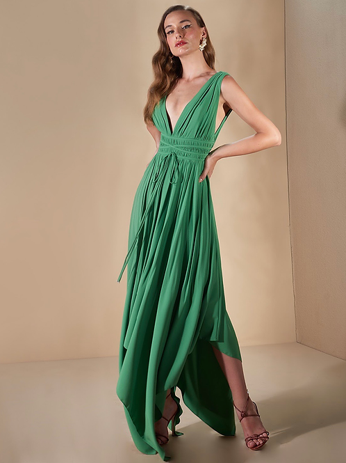 Vestido crepe com pontas verde Skazi
