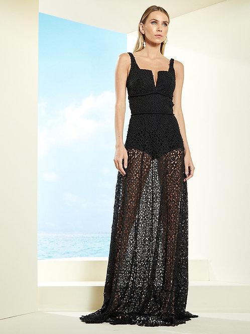 Vestido longo em renda guipire hotpants preto Skazi