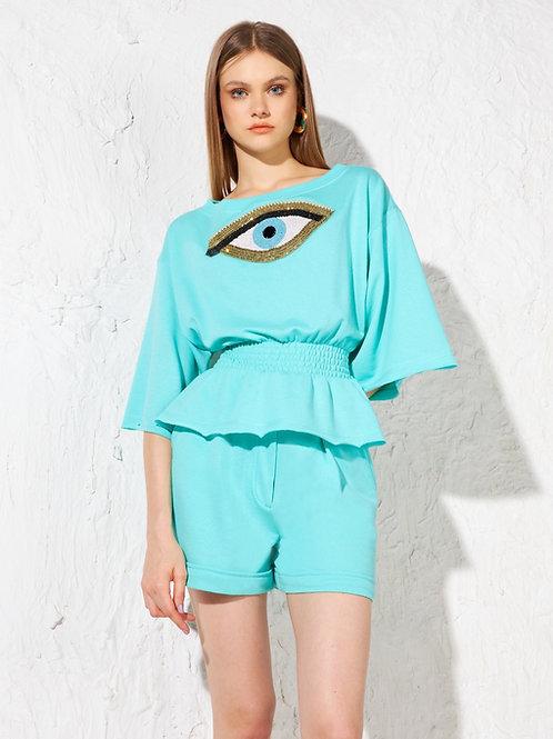 Conjunto blusa e short bordado olho grego Skazi