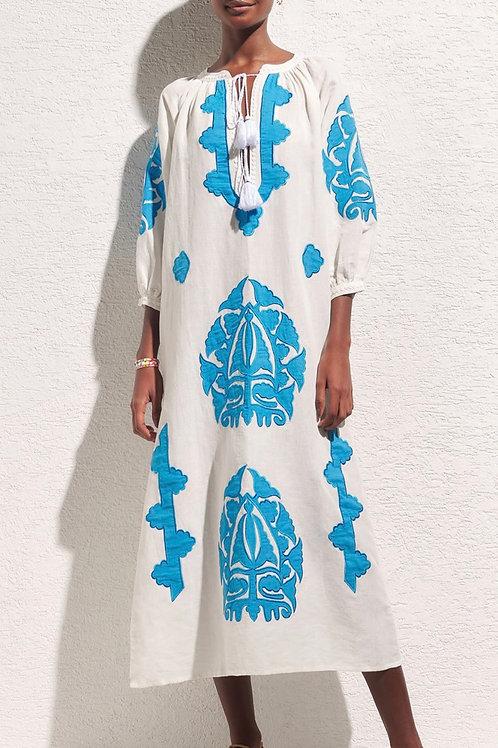 Vestido longo bordado Cleo azul Nammos