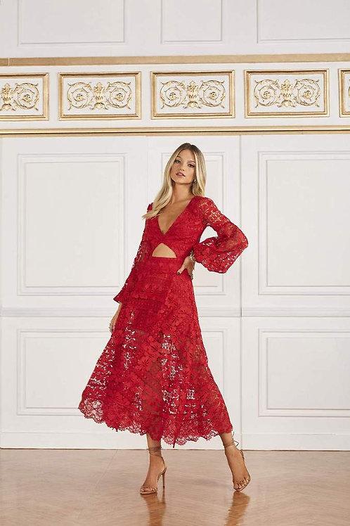Vestido midi Joana vermelho renda Fabulous Agilità
