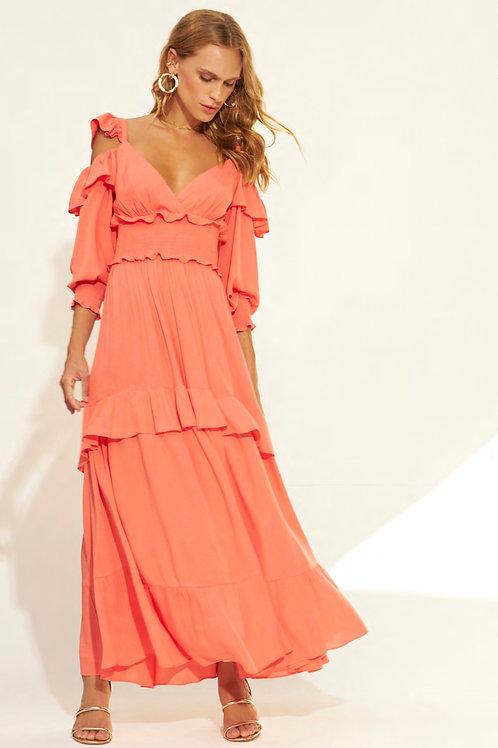 Vestido detalhe saia e mangas babados Skazi Sclub coral laranja