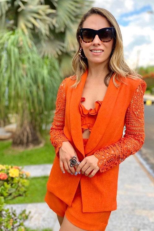 Blazer detalhe manga renda laranja PatBo