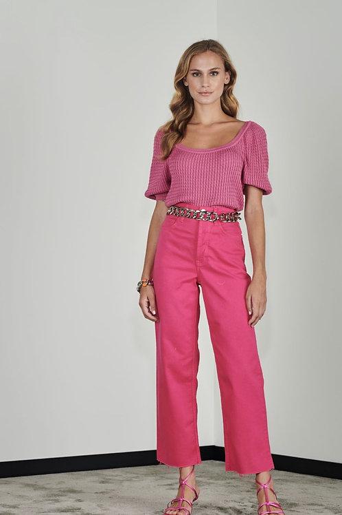 Blusa manga puff rosa  - Iorane