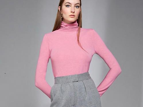 Blusa basic manga gola alta rosa Skazi Sclub