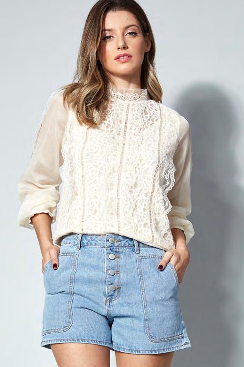 Blusa detalhe renda off white Skazi