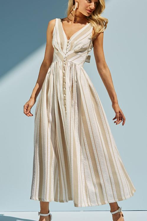 Vestido midi linho bordado arabesco Skazi