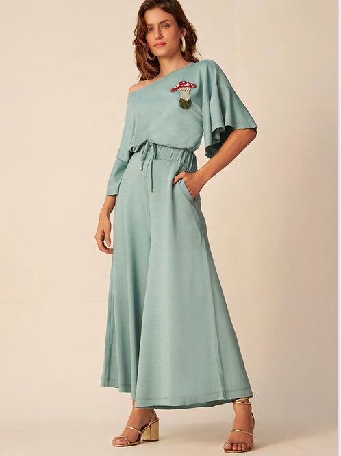 Conjunto de calça pantacourt e blusa com cogumelo bordado Skazi Sclub azul