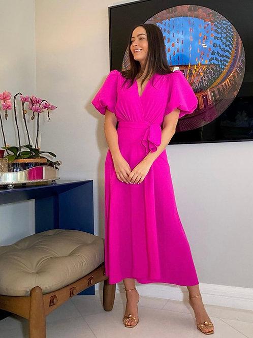 Vestido mídi trespassado pink Skazi