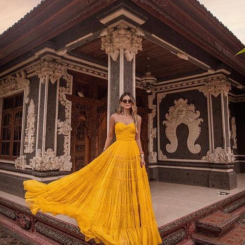 Vestido longo chiffon seda amarelo Skazi Thassia Naves