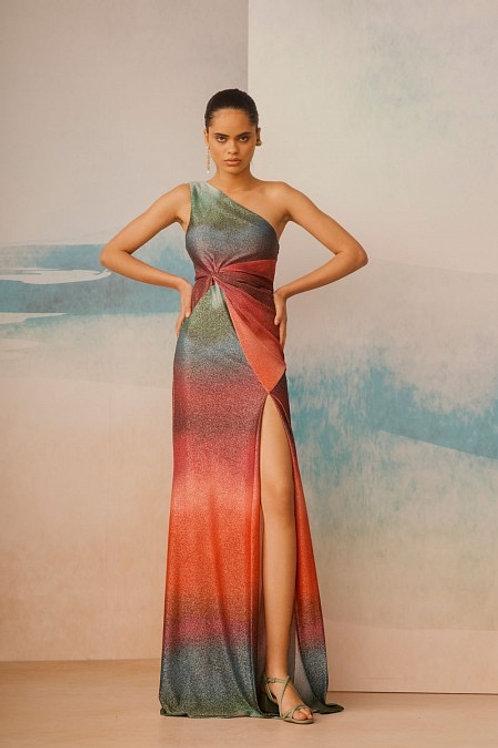 Vestido longo em lurex um ombro só degradê PatBo multicolor