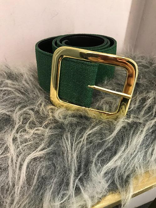 Cinto Skazi em linho verde esmeralda e fivela dourada