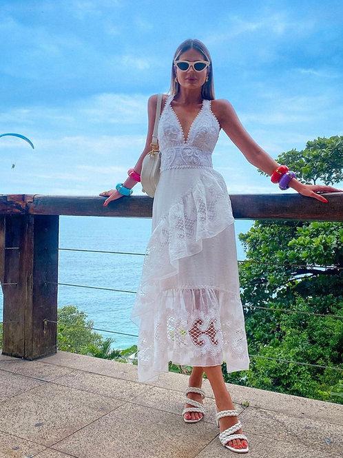 Vestido mídi tecido bordado off white Skazi