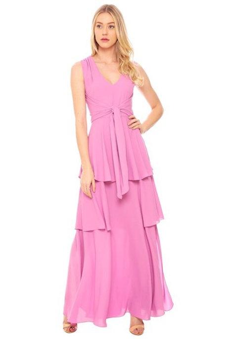 Vestido longo babados rosa Amíssima