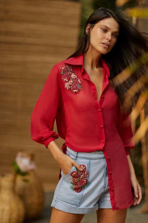 Chemise detalhes bordados Manzan vermelho cereja
