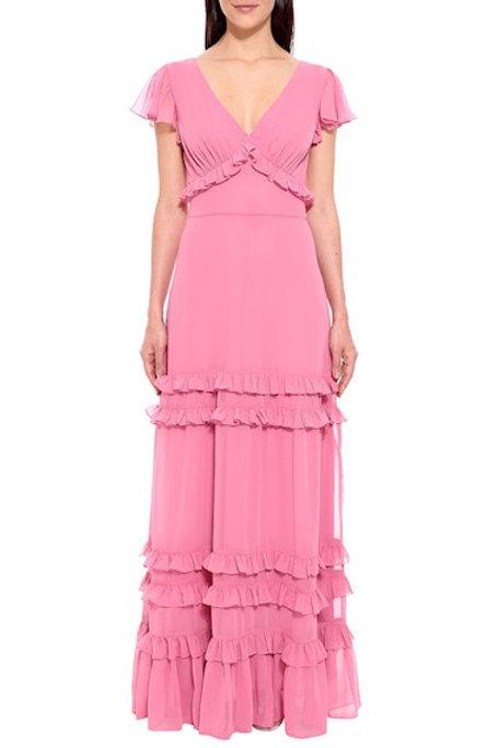 Vestido longo crepe babados Amíssima rosa