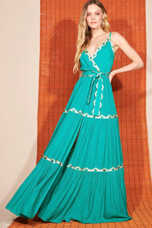 Vestido longo detalhes verde Skazi Sclub
