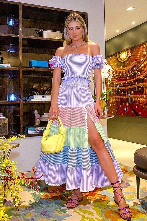 Conjunto blusa e saia listras coloridas Skazi Sclub Thassia Naves