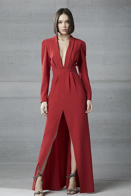 Vestido longo manga longa fenda vermelho Skazi