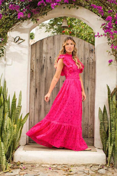Conjunto blusa e saia renda pink Skazi Sclub