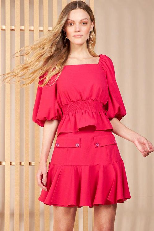 Conjunto blusa e saia rosa Skazi Sclub