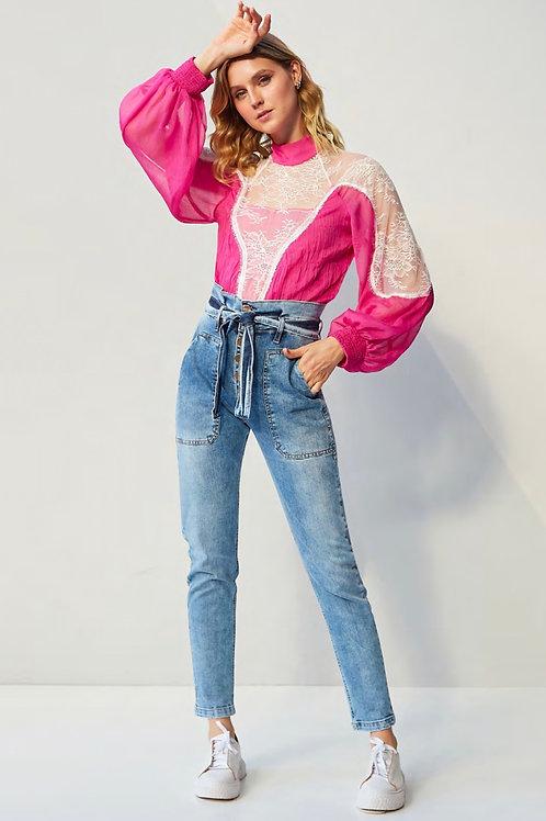 Calça jeans detalhe amarração Skazi Sclub