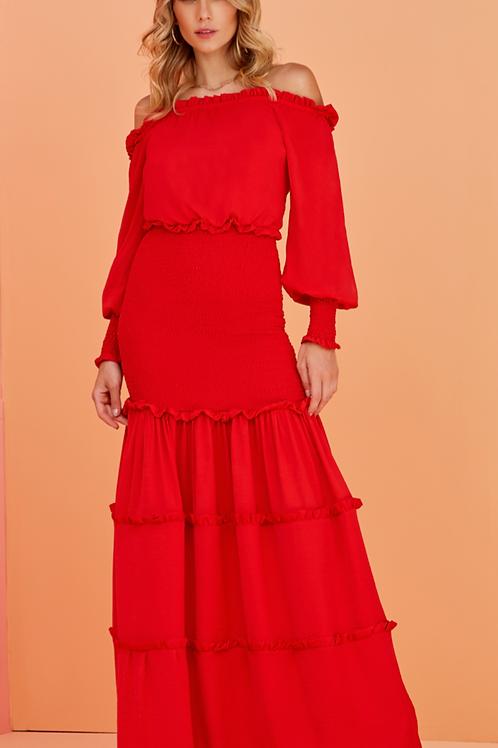 Vestido longo drapeado vermelho Skazi