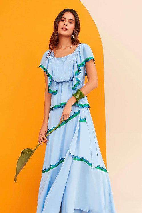 Conjunto blusa e saia detalhes tricot azul Skazi Sclub