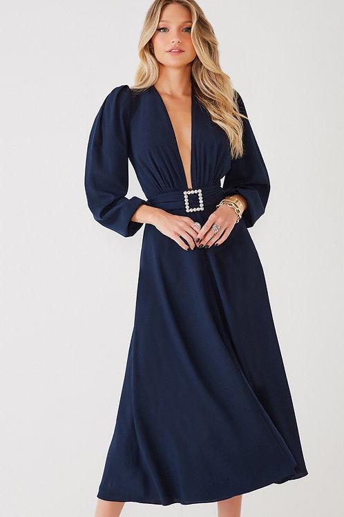 Vestido midi Ingrid azul marinho Fabulous Agilita