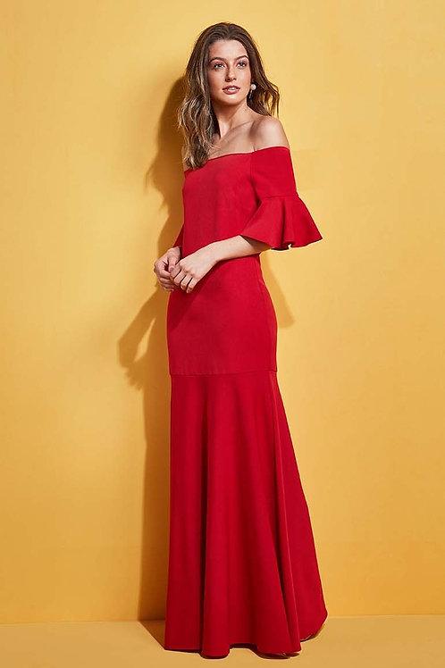 Vestido longo ombro a ombro Skazi Sclub vermelho