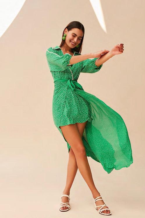 Vestido decote poá verde Skazi Sclub
