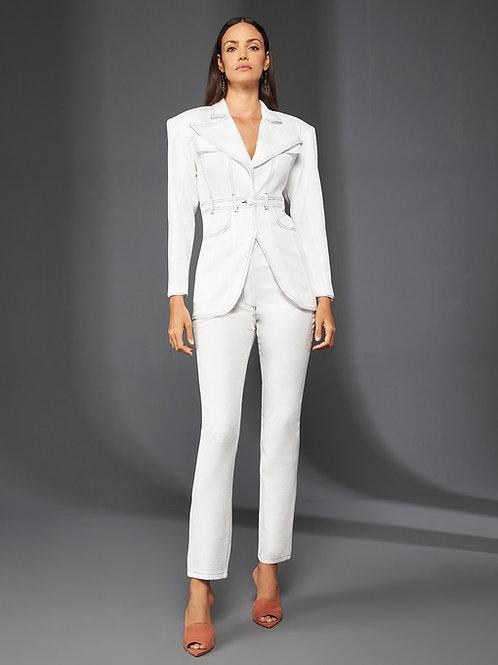 Conjunto blazer e calça presponto branco Skazi Sclub