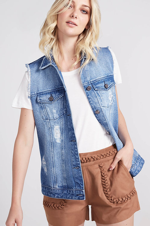 Colete Jeans Destroyed - Pop Up bazar
