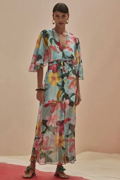 Vestido longo saida de praia hibiscus azul PatBo