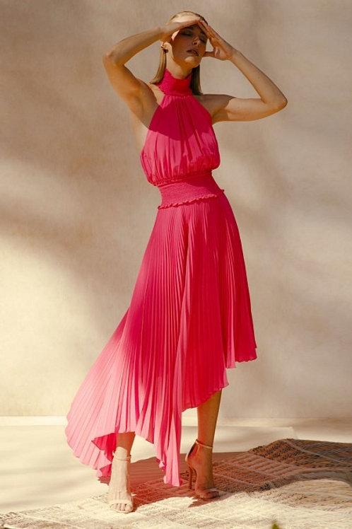 Vestido midi plissado pink PatBo