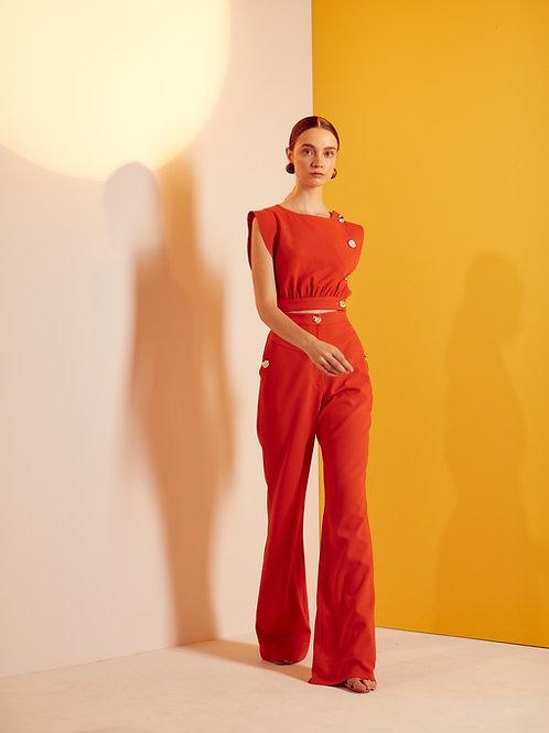Conjunto abotoamento blusa e calça alfaiataria Skazi laranja
