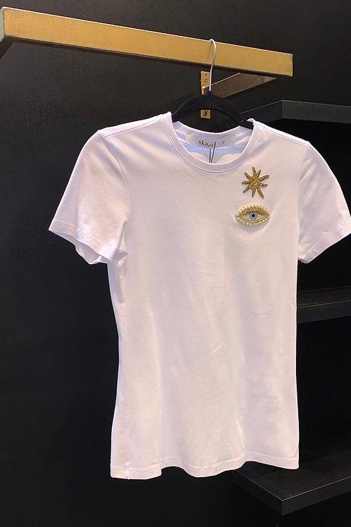 T shirt de estrela e olho grego bordado off white Skazi