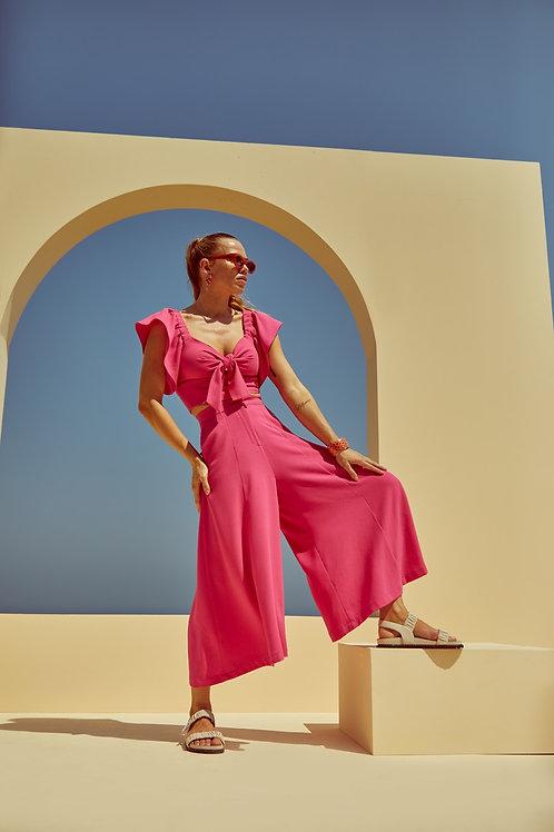 Conjunto de calça pantacourt e cropped crepe rosa pink Skazi Sclub