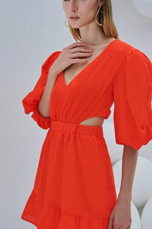 Vestido curto recorte cintura laranja Skazi Sclub