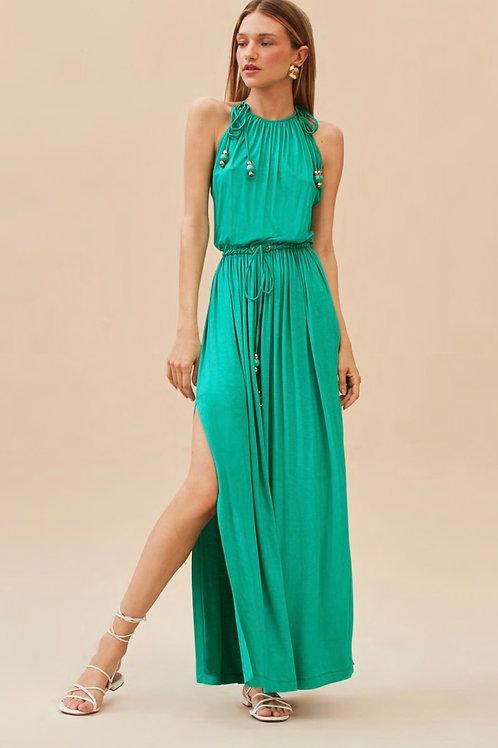 Vestido longo detalhe amarração verde Skazi Sclub