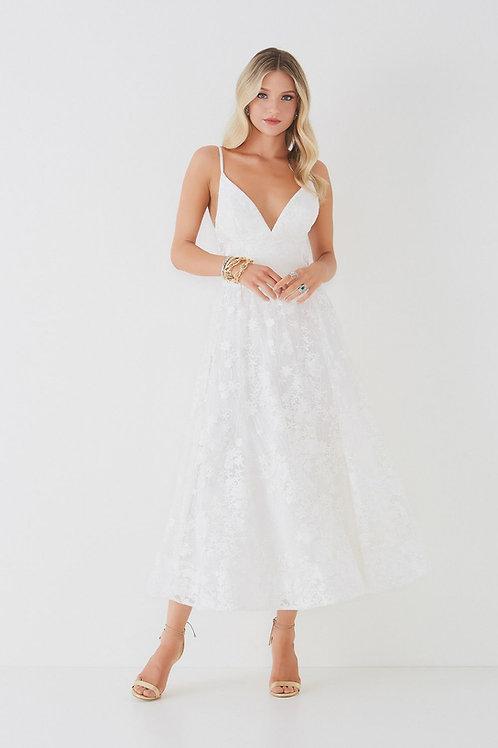 Vestido midi em tule bordado e bordados Fabulous Agilità Samara branco