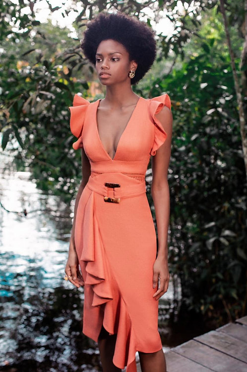 Vestido decote e babados laranja PatBo